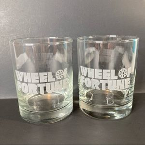 Wheel of Fortune Low Ball Drinking Glasses 2 Cups